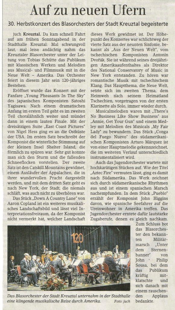 Artikel aus der Siegener Zeitung zum Herbstkonzert 2018 in der Stadthalle Kreuztal