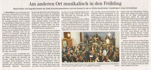 Artikel aus der Siegener Zeitung zum Frühjahrskonzert 2019 in der ev. Kirche Buschhütten